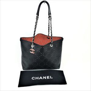 Chanel Black Perforated Calfskin Leather Tote